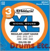 D'Addario Regular Light, 10-46, Electric Guitar Strings 3 Sets EXL110-3D