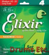 Elixir Medium Long Scale Nanoweb Electric Bass Strings 14077