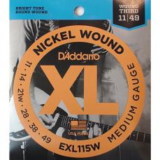 D'Addario Medium Gauge, 11-49 Nickle Wound Guitar Strings 3 Pack EXL115W