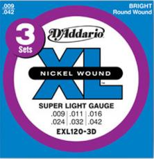 D'Addario Super Light, 9-42, Electric Guitar Strings 3 Sets EXL120-3D