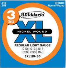 D'Addario Regular Light, 10-46, Electric Guitar Strings 3 Sets EXL110-3D