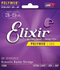 Elixir Extra Light Polyweb Acoustic Guitar Strings 11000