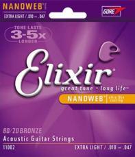Elixir Extra Light Nanoweb Acoustic Guitar Strings 11002