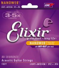 Elixir Light Medium Nanoweb Acoustic Guitar Strings 11077