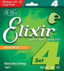 Elixir Medium Long Scale Nanoweb Electric Bass Strings 14077