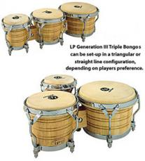 Latin Percussion Generation III Triple Wood Bongos LP202-AW