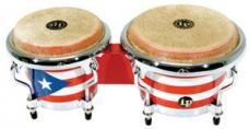Latin Percussion Puerto Rican Flag Mini Tunable Wood Bongos LPM199PR