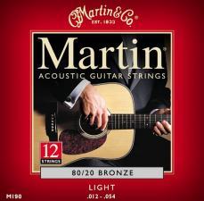 Martin M190 80/20 Bronze Light 12-String Acoustic Guitar Strings Single Pack
